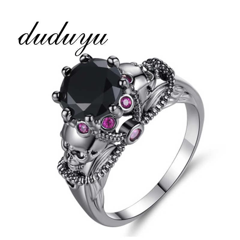 Мужские кольца в стиле панк-рок для женщин, винтажные кольца с черепом, медное циркониевое кольцо на палец для мужчин и женщин, модные ювелирные изделия, аксессуары, подарки