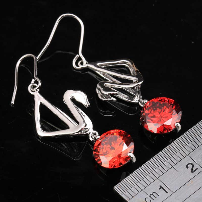 Красота Лебедь Круглый Красный Гранат 925 серебро Мода падение ювелирные изделия Длинные висячие серьги S5630