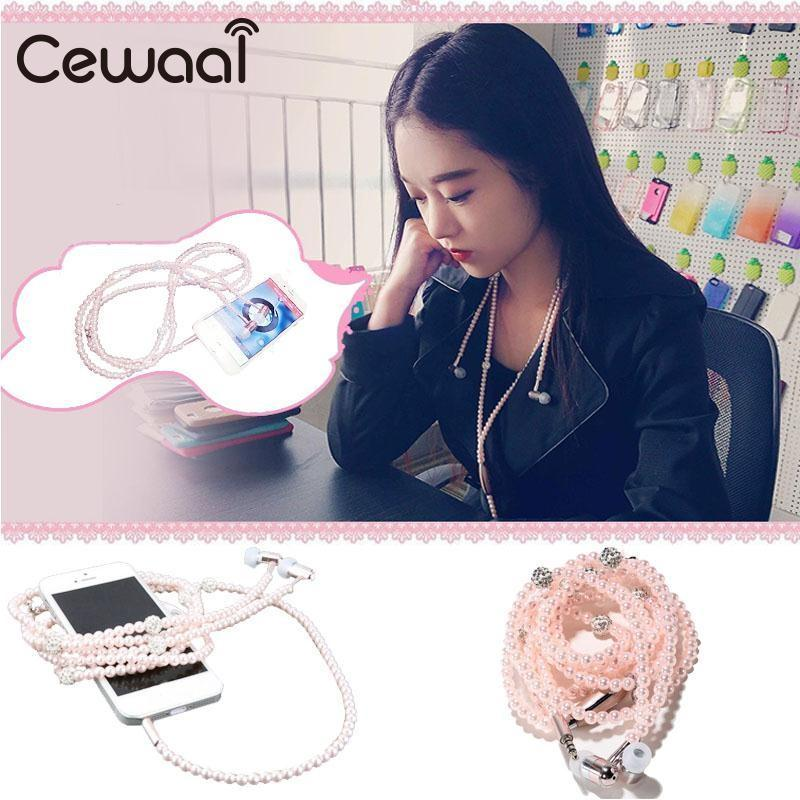 Cewaal Universal Fashionable Jewelry Pearl Necklace Earphones For Iphone Android 1.16m Cable Fashion