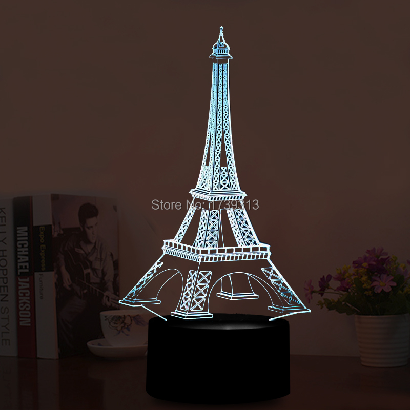 3D LED Illusion USB Lights LED Eiffel <font><b>Tower</b></font> Table Lamp with Colorful Flashing Decorations Lights LED Desk Lamp as Holiday Gifts
