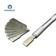PHONEFIX резиновая Лопата клеевой Нож плоский металлический набор лезвий Набор ножей УФ Клеевой нож, съемник для ремонта экрана мобильного телефона набор инструментов