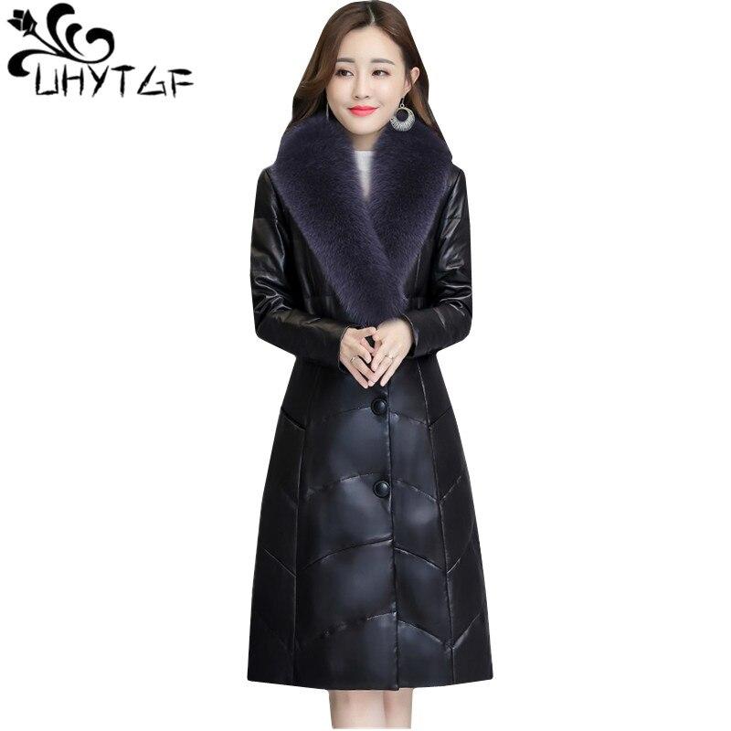 UHYTGF New luxury   Leather   Down jacket Winter jacket Womens fashion fur collar Thicken warm Slim Fur coat M-4XL Plus size coat 87