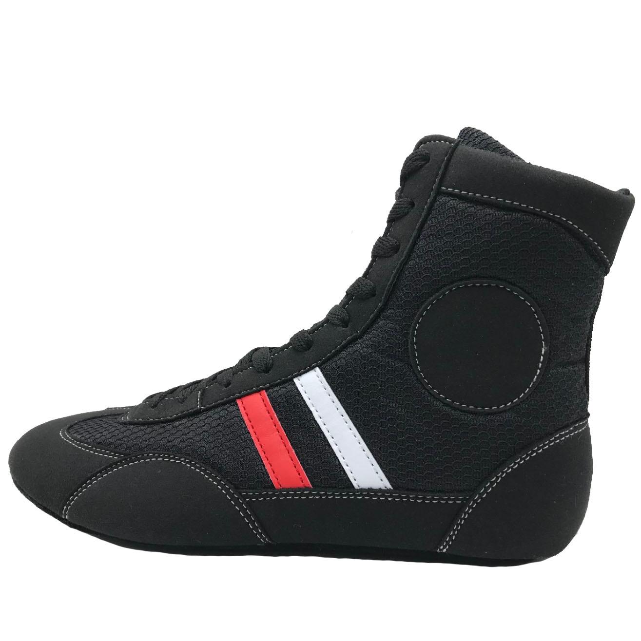 SINOBUDO профессиональная обувь для борьбы с мягкой подошвой, боксерские бои, кожаные кроссовки, тренировочные спортивные ботинки S004 - Цвет: Черный