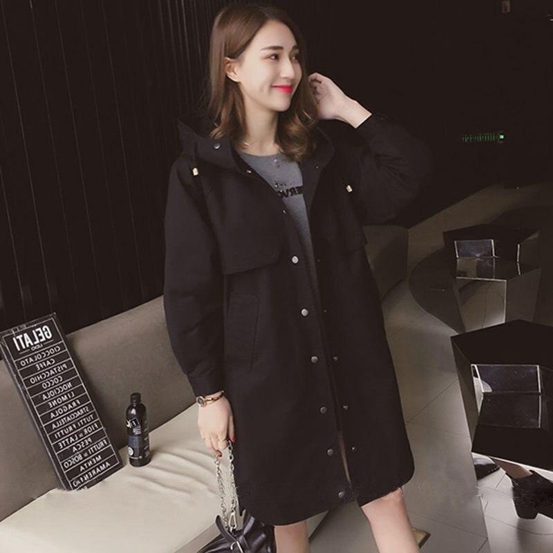 4f39f95bdd44 Hot   Women Plus Size Solid BF Style Loose Coat Autumn Oversized Long Hooded  Windbreaker Fashion OL Single breasted Warm Jacket-in Trench from Women s  ...