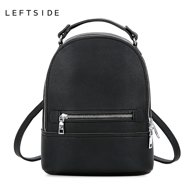 4f006c76c8ed LEFTSIDE Simple Style Women Fashion Small PU Leather Backpacks Female  Backpack Travel Bag School Bags For Teenagers Girls 2018