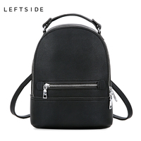 LEFTSIDE Simple Style Women Fashion Small PU Leather Backpacks Female Backpack Travel Bag School Bags For Teenagers Girls 2018