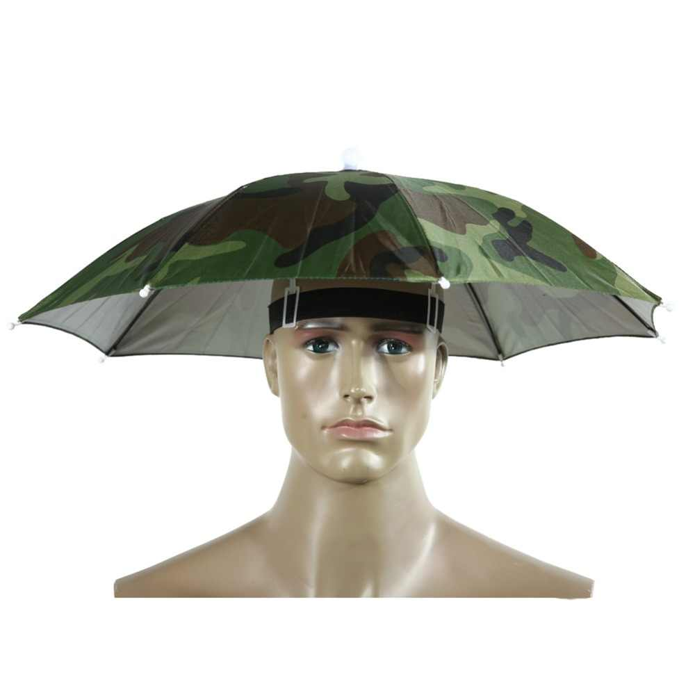 716cfc107f2 Portable Usefull Umbrella Hat Sun Shade Waterproof Outdoor Camping Hiking  Fishing Festivals Parasol Foldable Brolly Cap