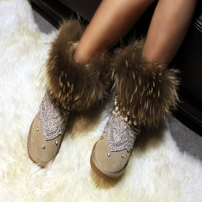Fashion Natural Cow Suede Snow Boots Hand-sewn Fringed Leather Ankle Boots Women Winter Boots Flats Shoes Rhinestone Fur Boots
