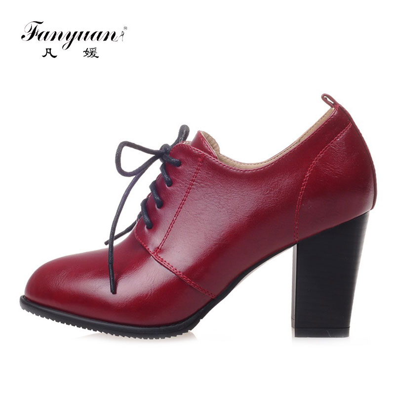 Fanyuan Black White high Heels women Oxford shoes Spring 2018 comfort Office lady Thick heels mature Pointed toe Lace-up Pumps fanyuan new spring autumn thick high heeled pumps woman round toe lace up shoes female platform shoes casual office lady