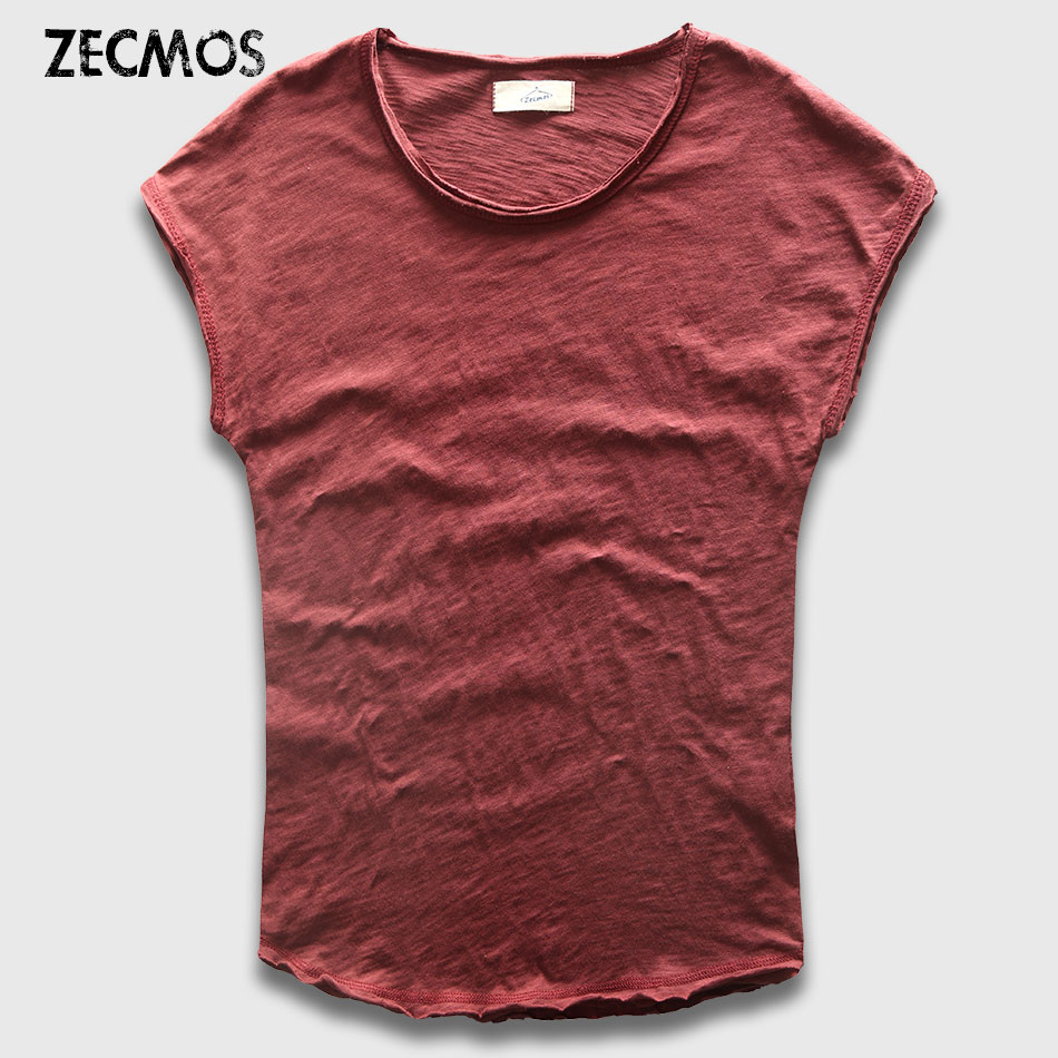 Zecmos Ärmelloses Männer T-Shirts Mode Baumwolle Top Tees Männer T-shirts Slim Fit Abgerundetem Saum T-shirt Männlichen Hippie Sommermännermode