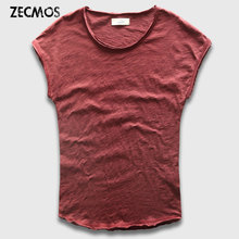 Zecmos Sleeveless Men T-Shirts Fashion Cotton Top Tees Men Tshirts Slim Fit Curved Hem T Shirt Male Hippie Summer Menswear
