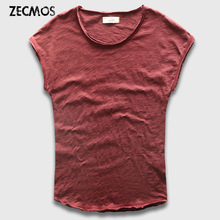 Zecmos Sleeveless Men T-Shirts Fashion Cotton Top Tees Men Tshirts Slim Fit Curved Hem T Shirt Male Hippie Summer Menswear