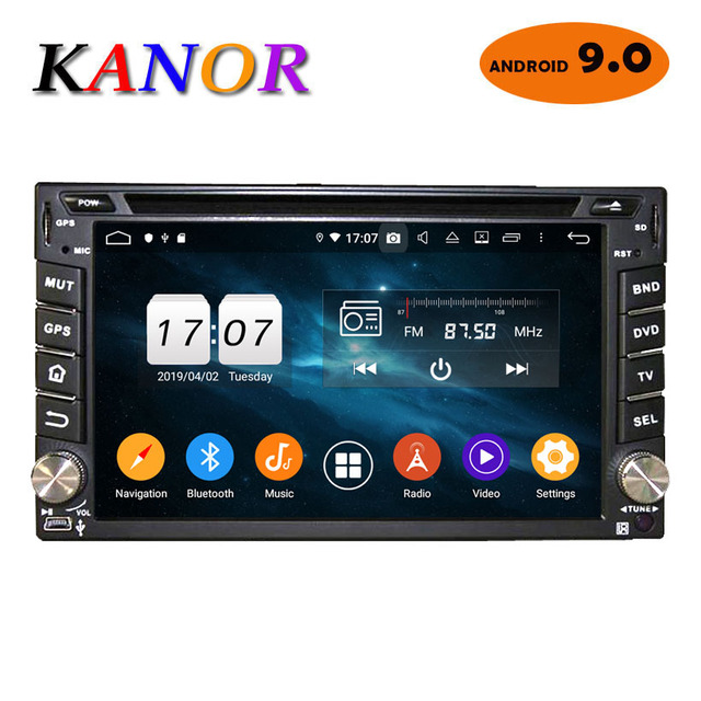 KANOR Android 9.0 4+32g 2 Din Car Radio Universal For Nissan Hyundai Navara X-trail Qashqai Pathfinder Cassette Recorder 2din