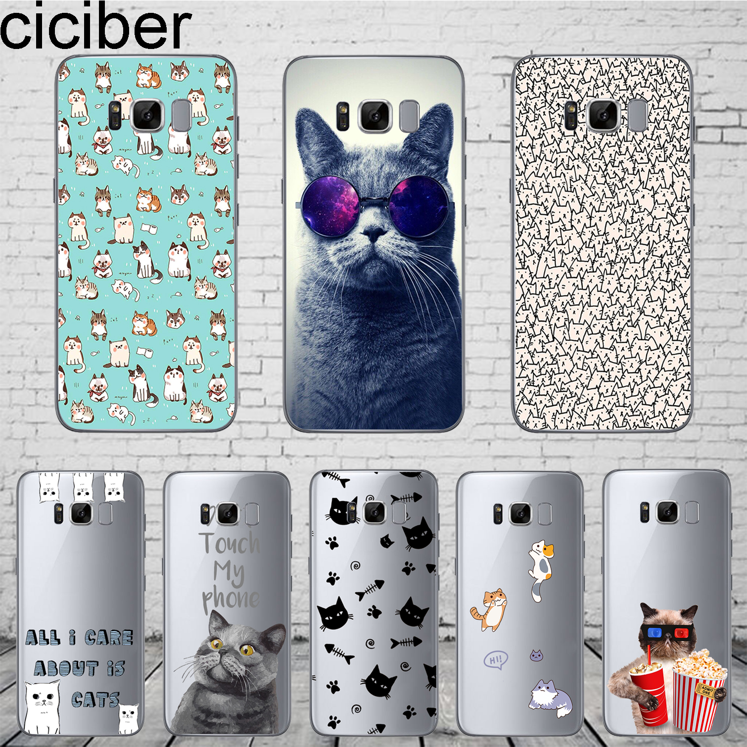 ciciber Animal Funny Cute Cartoon Cat Phone Case For Samsung Galaxy S7 S9 S6 Edge S8 Plus Soft Silicone TPU Cover Coque