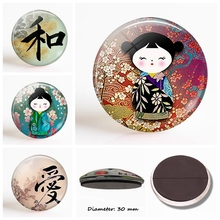 Japanese Doll 30 MM Fridge Magnet Glass Dome Style Art Magnetic Refrigerator Stickers Cartoon Home Decor