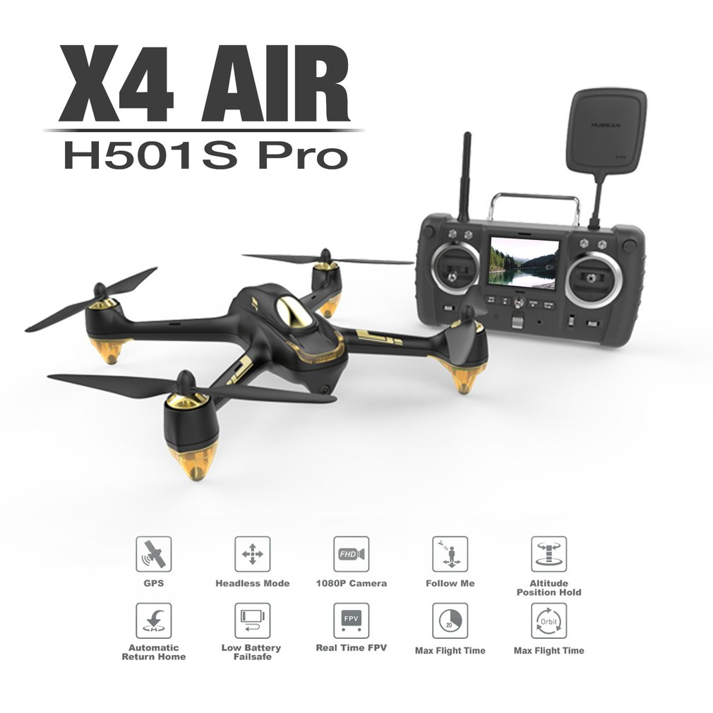 Hubsan H501S 5.8G FPV Brushless Advanced Version 1080P Camera Drone Altitude Hold Auto Return RC Quadcopter with GPS RC Drone lipo battery 7 4v 2700mah 10c 5pcs batteies with cable for charger hubsan h501s h501c x4 rc quadcopter airplane drone spare