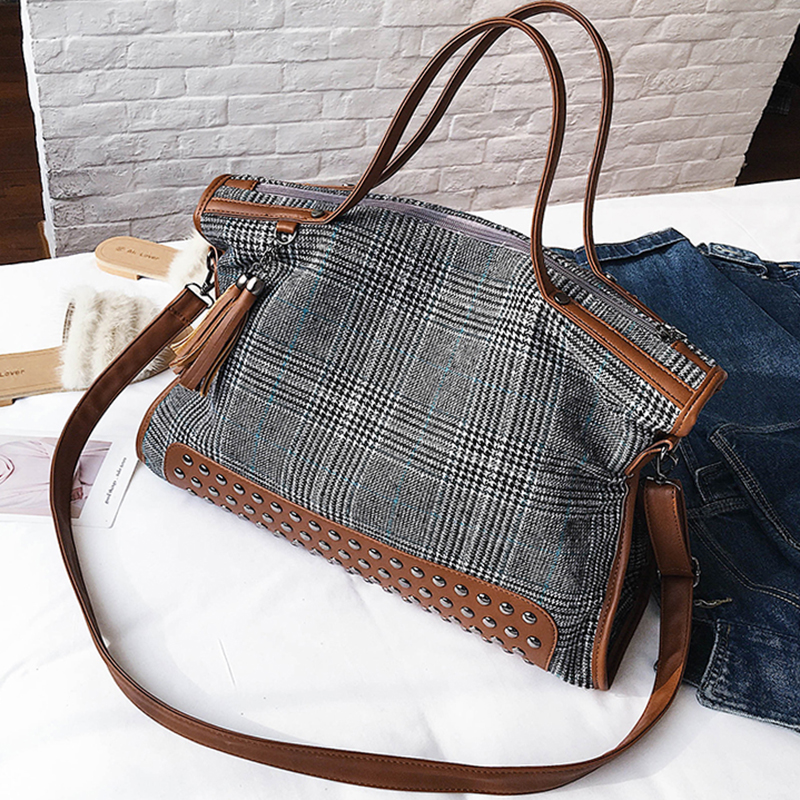 ETAILL Luxury Brand Women England Canvas Plaid Bags Large Tote Bag Female Handbags Designer Big Crossbody Tassel Messenger Bag aosbos fashion portable insulated canvas lunch bag thermal food picnic lunch bags for women kids men cooler lunch box bag tote