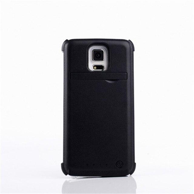 4200 мАч Внешних Резервных Зарядное Устройство Дело Power Pack Задняя Крышка для Samsung Galaxy S5 I9600 G900 с Kickstand Черный & белый