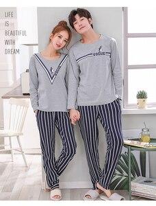 Image 2 - Bzel Katoen Paar Pyjama Set Leuke Cartoon O hals Lange Mouw Nachtkleding Zachte Leisure Pyjama Voor Mannelijke En Vrouwelijke Lovers Kleding