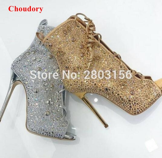 Rhinestone Peep Toe Shoes Women High heels Stiletto Heel Gladiator Sandals Boots Ladies Crystal Lace Up ankle booties купить