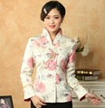 Горячая распродажа многоцветный китайских женщин атласная куртка классический стиль печать тан-костюм аппликации кнопка цветочный пальто размер S , чтобы XXXL T036