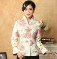 Caliente venta de china Multicolor mujeres satén estilo clásico de la chaqueta impresión juego de la espiga de los Appliques botón Floral capa del tamaño S a XXXL T036