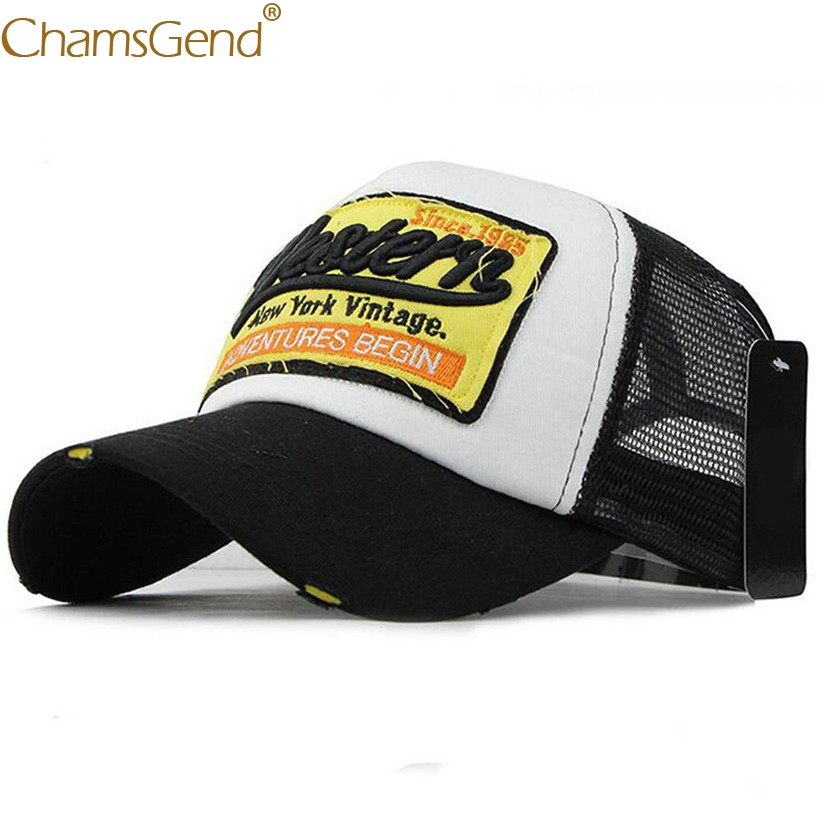 Chamsgend Embroidery WESTERN NEW YORK VINTAGE   Baseball     Caps   Women Men Summer Vintage Snapback Breathable Mesh Hat 80413