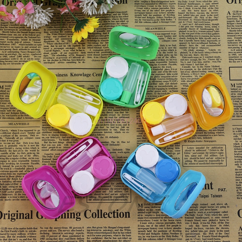 1Set Container Box Mini Mirror Contact Lens Travel Kit Easy Carry Case Storage Holder Container Box ...
