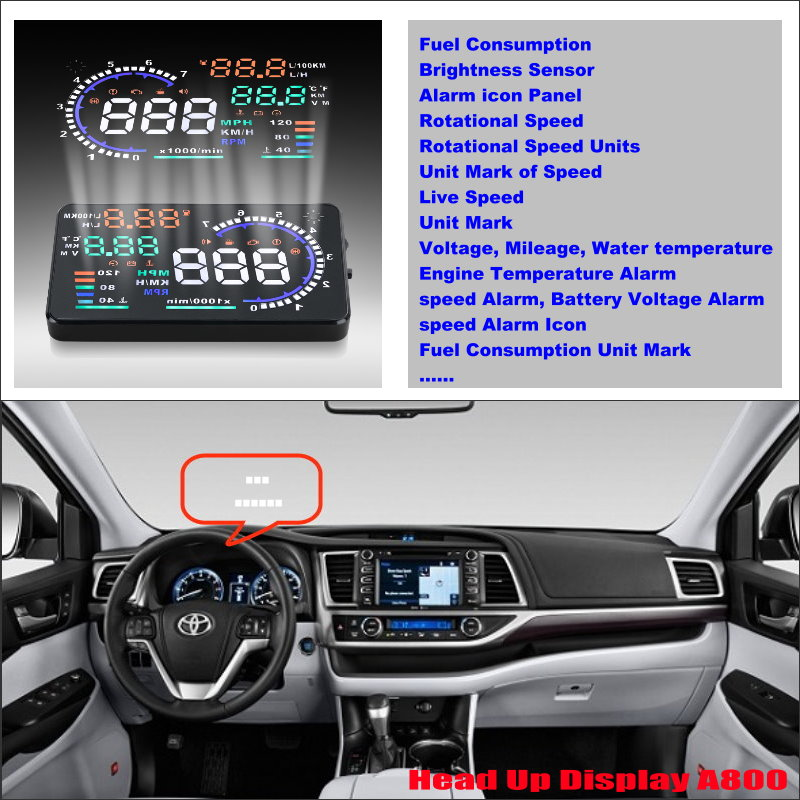 ФОТО For Toyota Land Cruiser / Highlander / RAV4 2015 2016 Car Head Up Display Saft Driving Screen Projector - Refkecting Windshield