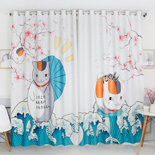 Personal Tailor 2x Grommet Drapery Drape Glass Curtain Nursery Kids Children Room Window Dressing 200cm x 260cm Cat  Japanese