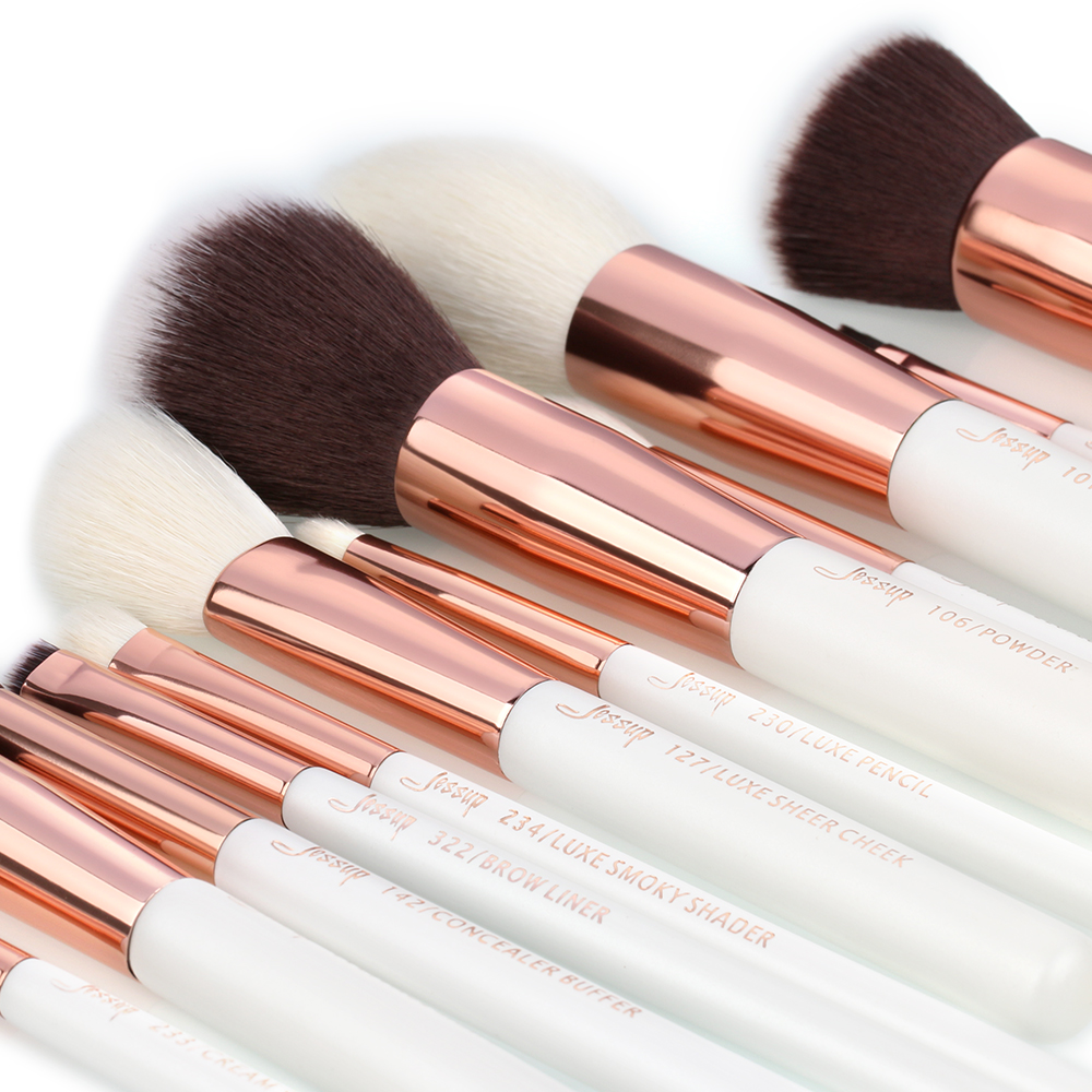Image 3 - Jessup brushes Pearl White / Rose Gold Professional Makeup Brushes Set Make up Brush Tool Foundation Powder Definer Shader Liner-in Eye Shadow Applicator from Beauty & Health