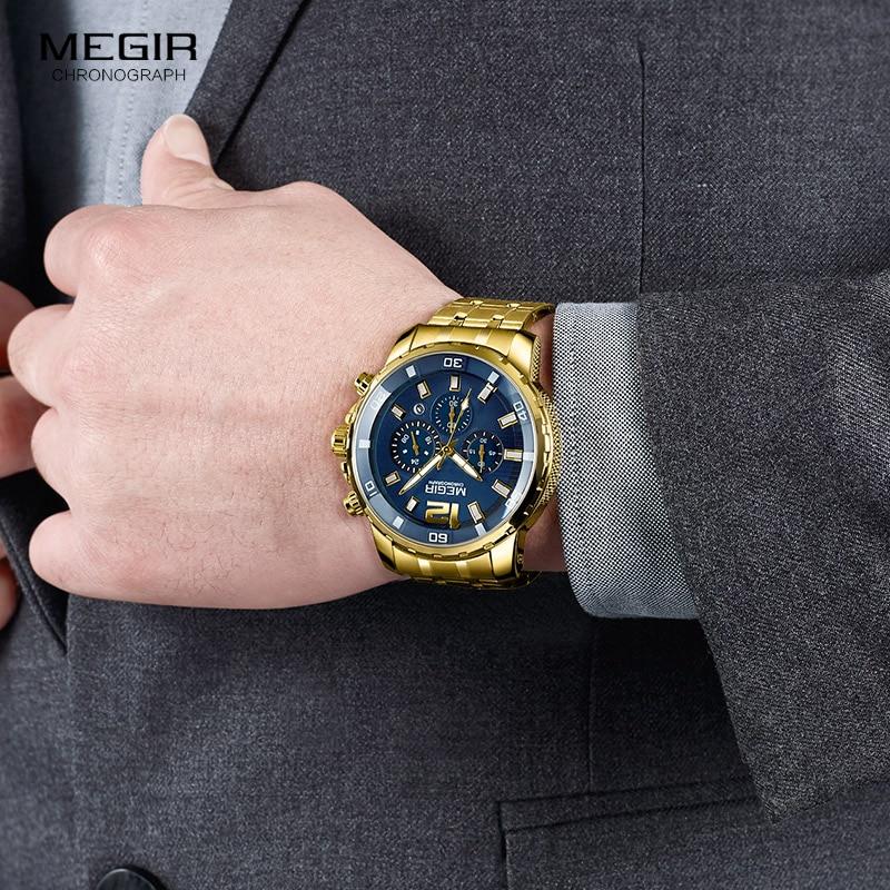 Megir Men s Gold Stainless Steel Quartz Watches Business Chronograph Analgue Wristwatch for Man Waterproof Luminous Megir Men's Gold Stainless Steel Quartz Watches Business Chronograph Analgue Wristwatch for Man Waterproof Luminous 2068GGD-2N3