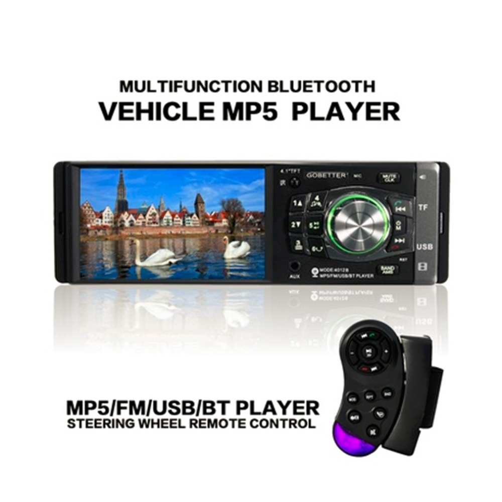imágenes para Cimiva PANTALLA LED TFT de 4.1 pulgadas Bluetooth Manos Libres Estéreo Del Coche de Radio MP3/4/5 Jugador Rueda de Control Remoto 87.5-108 MHz FM/USB 12 V