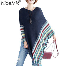 NiceMix 2019 Plus Size Cape Sweater Women Vintage Striped Knitted Pullover Batwing Sleeve Loose Tassel Poncho Sweaters Coat plus size striped tassel tee