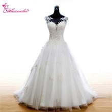 Alexzendra White A Line Lace Wedding Dress 2018 Scoop Neck New Elegant Bridal Gowns Plus Size plus scoop neck tropic print dress