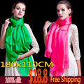 2016 Winter 100% Silk Scarf  Wrap Shawl Female foulard Scarves Long Style Solid Color Beach Cover-up black white green 180x110cm