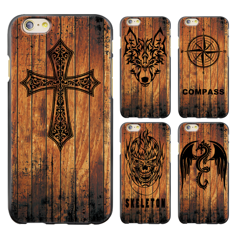 Ny stil Wood Relief Series Telefonfodral för iPhone 5 / 5s / 6 / 6s / 6plus / 6s Plus / 7 / 7plus / 8/8 Plus / X Painted TPU Soft Cover Cover