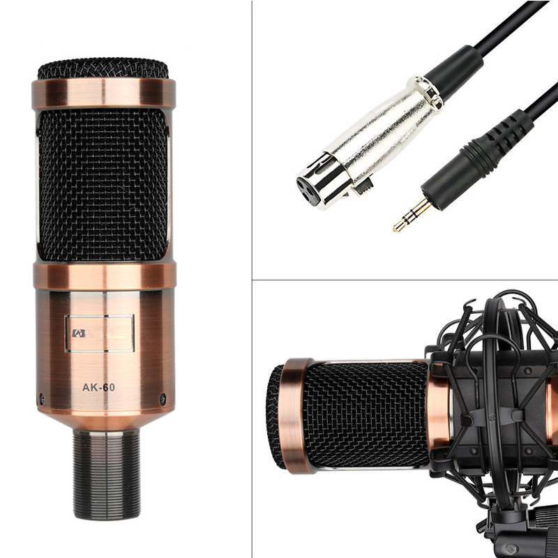 SAGO AK-60 Professional condenser microphone for computer audio studio vocal recording karaoke Mic Phantom power Sound card heat live broadcast sound card professional bm 700 condenser mic with webcam package karaoke microphone