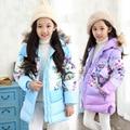 Inverno Novo Casaco Fashion Para Baixo Casaco Jaqueta Meninas Do Bebê Floral Jaquetas Meninas Longa-style Algodão Casaco Outerwear Jaqueta Criança