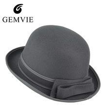 Nuevo invierno de lana sentía Fedora sombreros para las mujeres Bowknot  sólido Panamá Jazz Sombrero Bowler c84573b6deb9