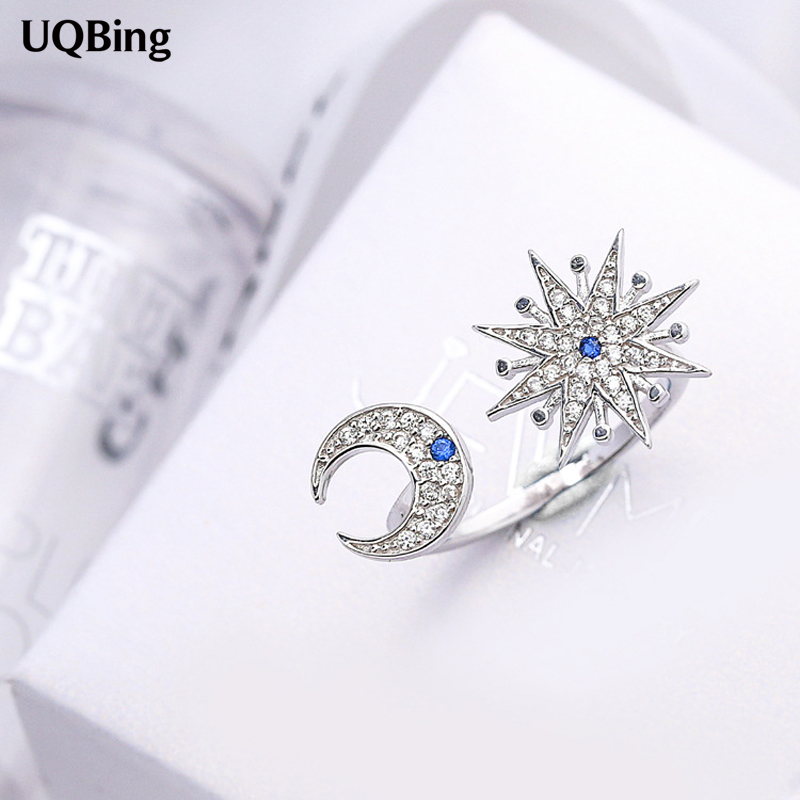 Wholesale Fits European Jewelry 925 Sterling Silver Rings Moon Star Open 100% 925 Sterling Silver Ring Women Jewelry 2016 metal moon and star shap cuff ring