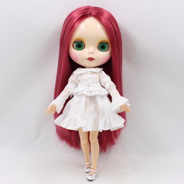 TBL Neo Blythe lutka ružičasta crvena kosa spojena tijela