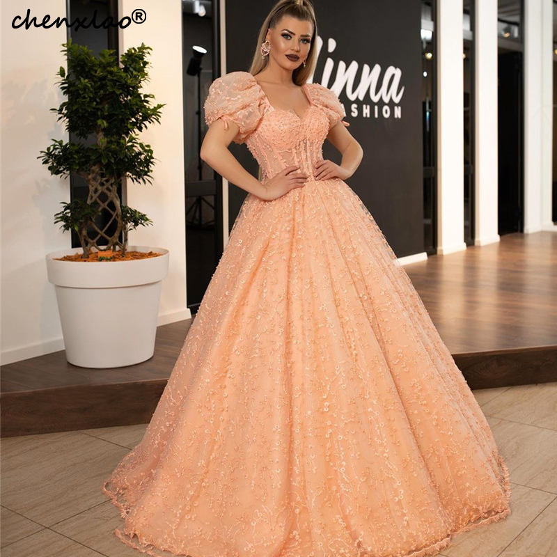 2019 New Blush Evening Dresses Long Square Short Sleeves Lace Floor Length Evening Dress Formal Party Gowns Vestidos