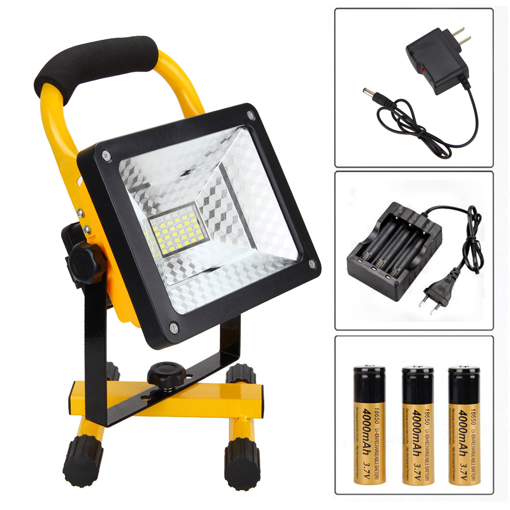 3 Color Portable 50W RGB 36 LED Flood Light Spot Work Camping Lamp 3X18650 Light Charger