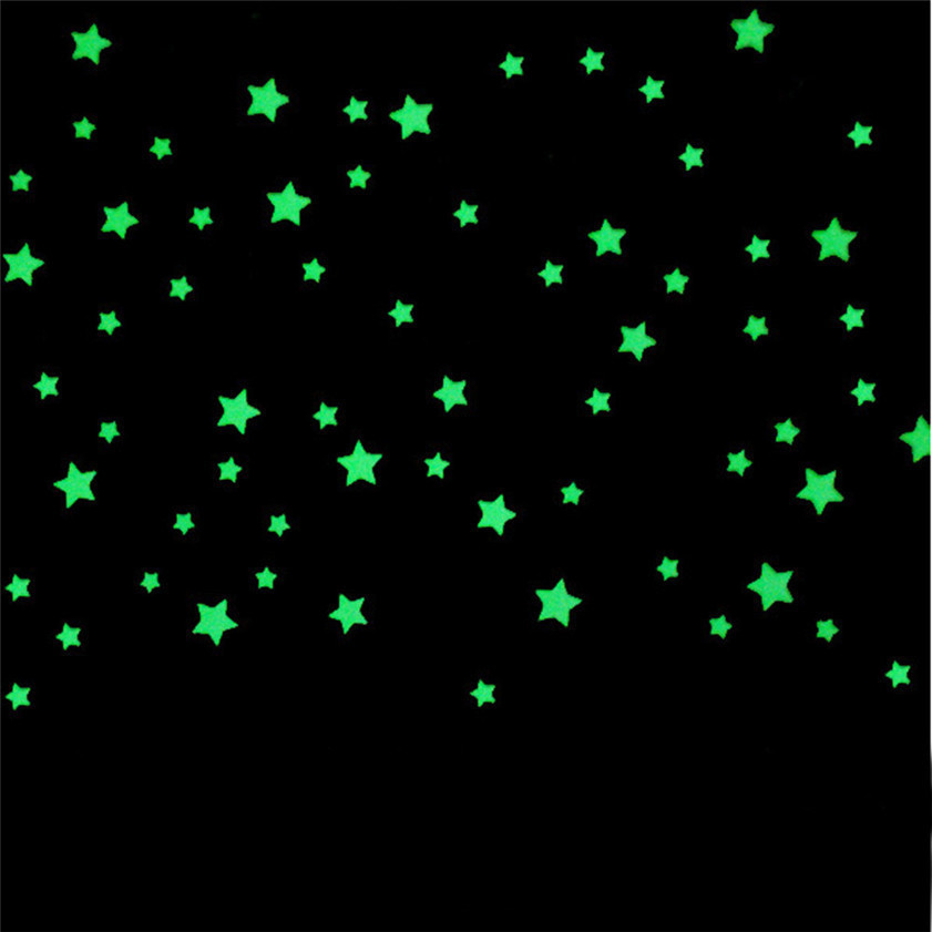 Wallpaper Sticker 100pcs 3D Stars Glow In Dark Luminous Fluorescent Plastic Wall Stickers Decor Kid Wallpaper For Living Room B#