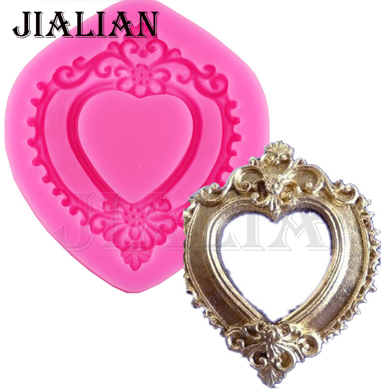 Hot Vintage Love Heart Shape Mirror Frame 3D Silicone Mould Fondant Chokolade Moulds Cake Decorating Værktøj T0730