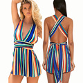 Da Praia do Verão 2017 Rompers Womens Jumpsuit Bandage Sem Mangas V Neck Backless Playsuits Bodysuit Moda Sexy Feminino Desgaste