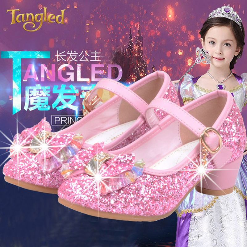 High Heels Girls Shoes For Party And Wedding Kids Footwear Shining Rhinestone Bling Shoes For Girls Princess Children Barefoot