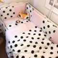 3cps/set 100% cotton Hot baby Bedding set include pillowcase flat sheet quilt cover pink  blue and Polka Dot