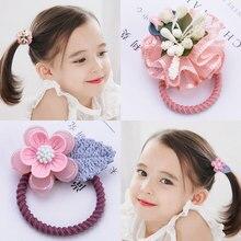 Sweet Girl 1PCS Creative Pink Flower Elastic Hair Bands For Bohemian Headband  Korean fashion Kids Accessories